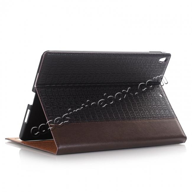 wholesale Luxury Crocodile Pattern Stand Book Leather Tablet Case For iPad Pro 10.5-inch - Coffee