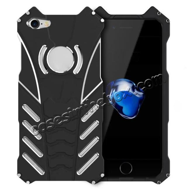wholesale R-Just Aluminum Metal Shockproof Case Cover for iPhone 7 - Black