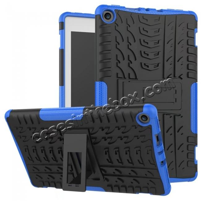 wholesale Rugged Armor Hybrid Kickstand Defender Protective Case for Amazon Kindle Fire HD8 (2017) - Blue
