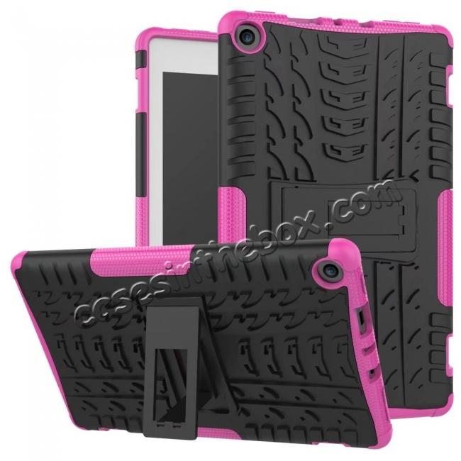 wholesale Rugged Armor Hybrid Kickstand Defender Protective Case for Amazon Kindle Fire HD 8 (2017) - Hot pink