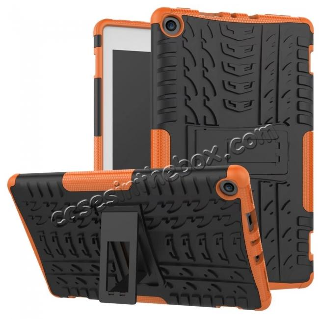 wholesale Rugged Armor Hybrid Kickstand Defender Protective Case for Amazon Kindle Fire HD8 (2017) - Orange