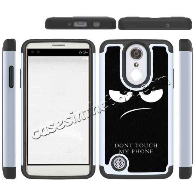 discount Tough Protective Rubber Bumper Shockproof Hybrid Phone Case For LG Aristo / LG K8 2017 - White&Black
