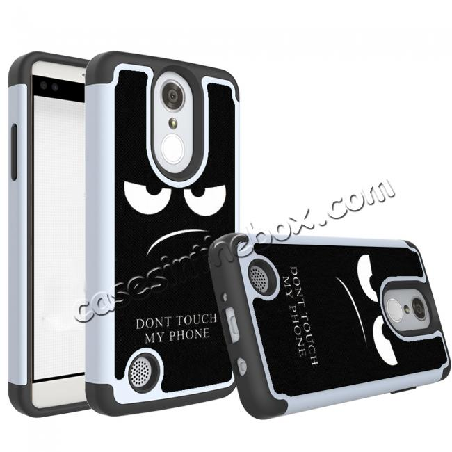 wholesale Tough Protective Rubber Bumper Shockproof Hybrid Phone Case For LG Aristo / LG K8 2017 - White&Black
