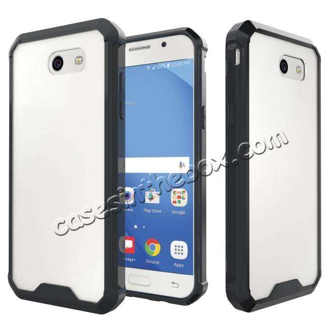 wholesale TPU Bumper with Clear Hard Acrylic Backplate Hybrid Case For Samsung Galaxy J3 Emerge - Black