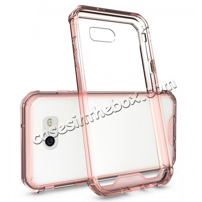 discount TPU Bumper with Clear Hard Acrylic Backplate Hybrid Case For Samsung Galaxy J3 Emerge - Rose gold