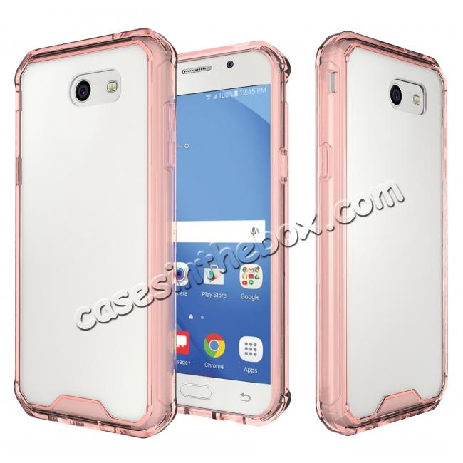 wholesale TPU Bumper with Clear Hard Acrylic Backplate Hybrid Case For Samsung Galaxy J3 Emerge - Rose gold