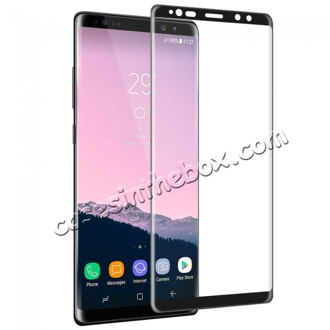 wholesale 3D Curved Edge Full Coverage Tempered Glass Screen Protector for Samsung Galaxy Note 8 - Black