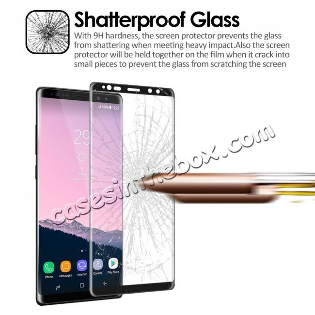 discount 3D Curved Edge Full Coverage Tempered Glass Screen Protector for Samsung Galaxy Note 8 - Black
