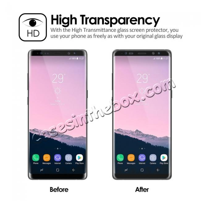 cheap 3D Curved Edge Full Coverage Tempered Glass Screen Protector for Samsung Galaxy Note 8 - Black