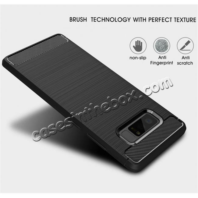discount Carbon Fiber Brushed Shockproof TPU Rubber Case For Samsung Galaxy Note 8 - Black