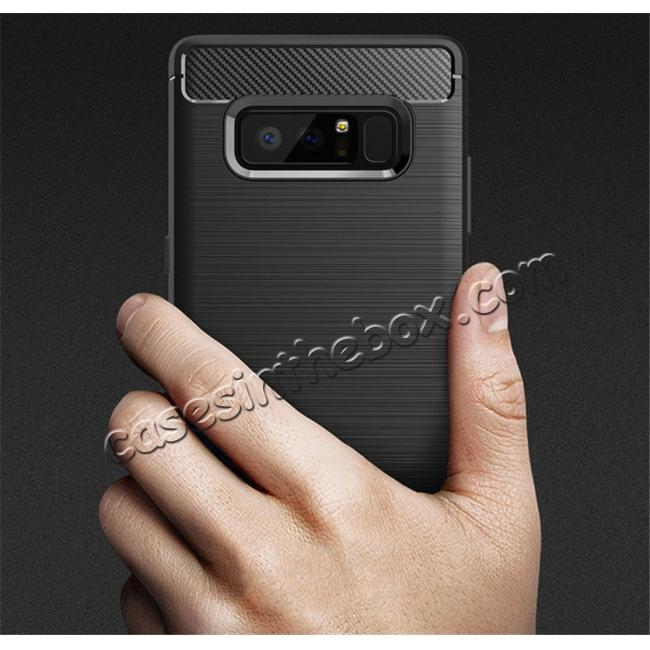 low price Carbon Fiber Brushed Shockproof TPU Rubber Case For Samsung Galaxy Note 8 - Black