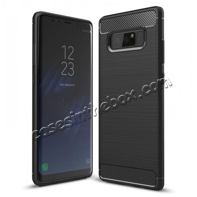 wholesale Carbon Fiber Brushed Shockproof TPU Rubber Case For Samsung Galaxy Note 8 - Black