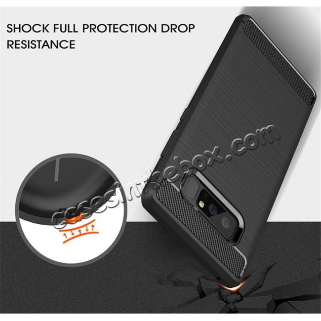 top quality Carbon Fiber Brushed Shockproof TPU Rubber Case For Samsung Galaxy Note 8 - Grey