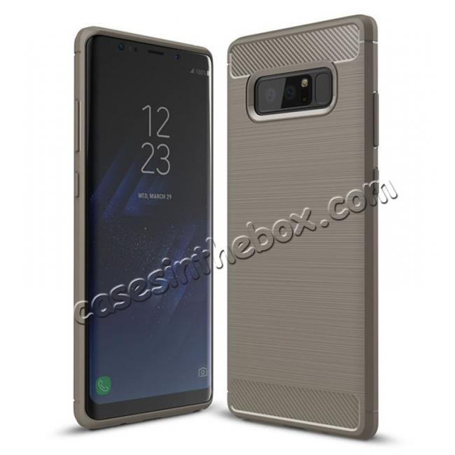 wholesale Carbon Fiber Brushed Shockproof TPU Rubber Case For Samsung Galaxy Note 8 - Grey