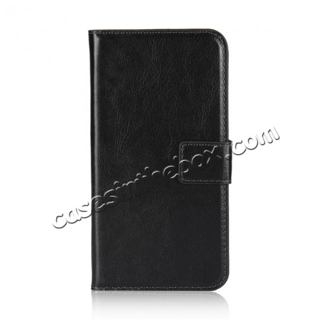 discount Crazy Horse Pattern PU Leather Wallet Holster Flip Case Phone Cover For iPhone X - Black
