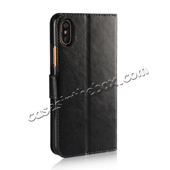 cheap Crazy Horse Pattern PU Leather Wallet Holster Flip Case Phone Cover For iPhone X - Black
