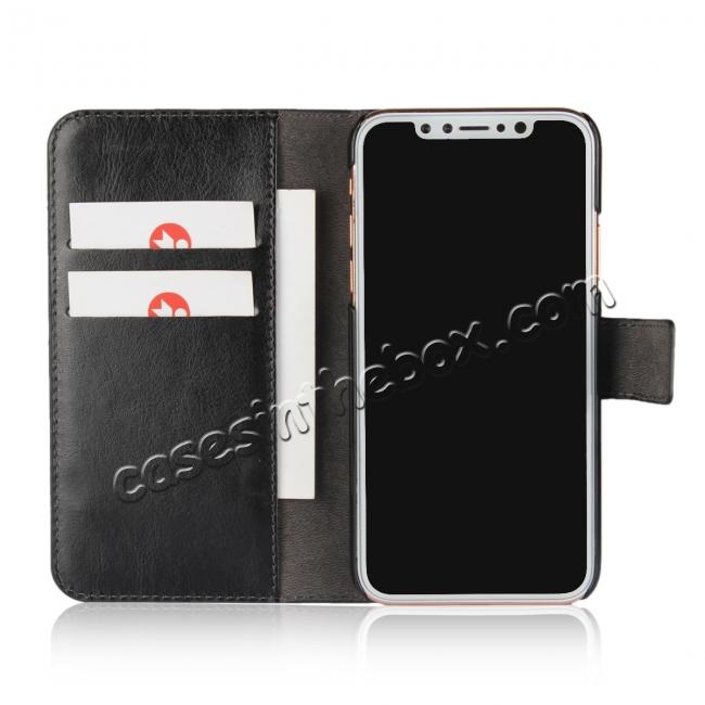 best price Crazy Horse Pattern PU Leather Wallet Holster Flip Case Phone Cover For iPhone X - Black