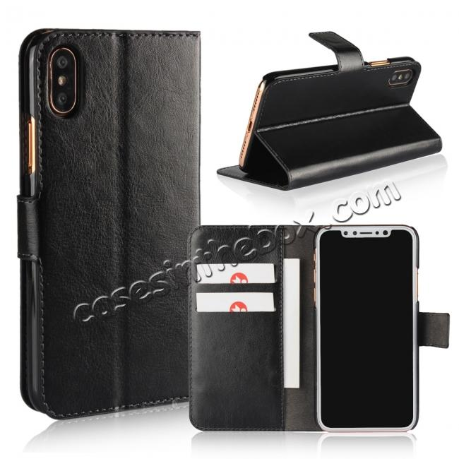 wholesale Crazy Horse Pattern PU Leather Wallet Holster Flip Case Phone Cover For iPhone X - Black