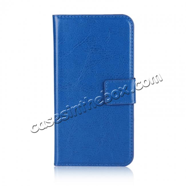 discount Crazy Horse Pattern PU Leather Wallet Holster Flip Case Phone Cover For iPhone X - Dark Blue