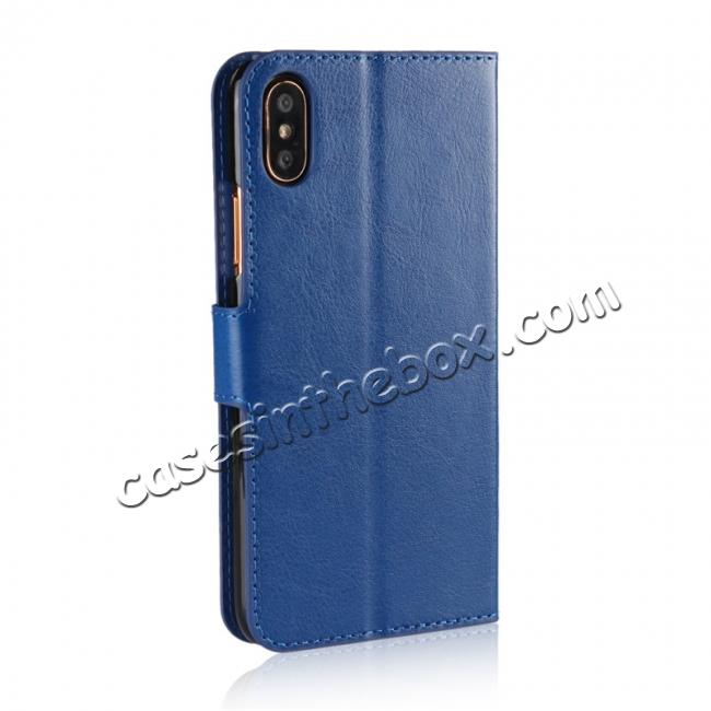 cheap Crazy Horse Pattern PU Leather Wallet Holster Flip Case Phone Cover For iPhone X - Dark Blue