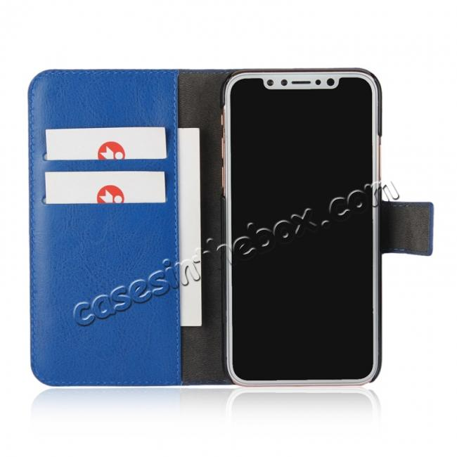 best price Crazy Horse Pattern PU Leather Wallet Holster Flip Case Phone Cover For iPhone X - Dark Blue