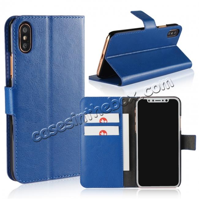 wholesale Crazy Horse Pattern PU Leather Wallet Holster Flip Case Phone Cover For iPhone X - Dark Blue