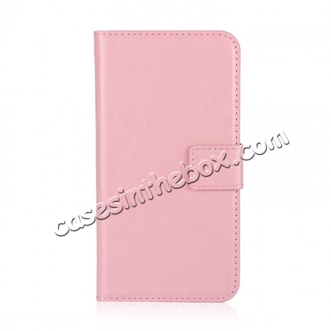 discount Crazy Horse Pattern PU Leather Wallet Holster Flip Case Phone Cover For iPhone X - Pink