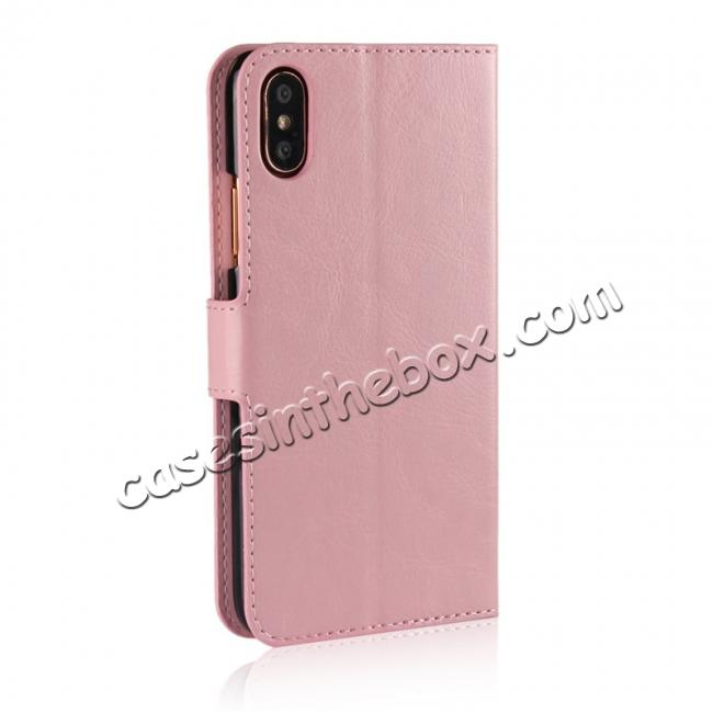 cheap Crazy Horse Pattern PU Leather Wallet Holster Flip Case Phone Cover For iPhone X - Pink