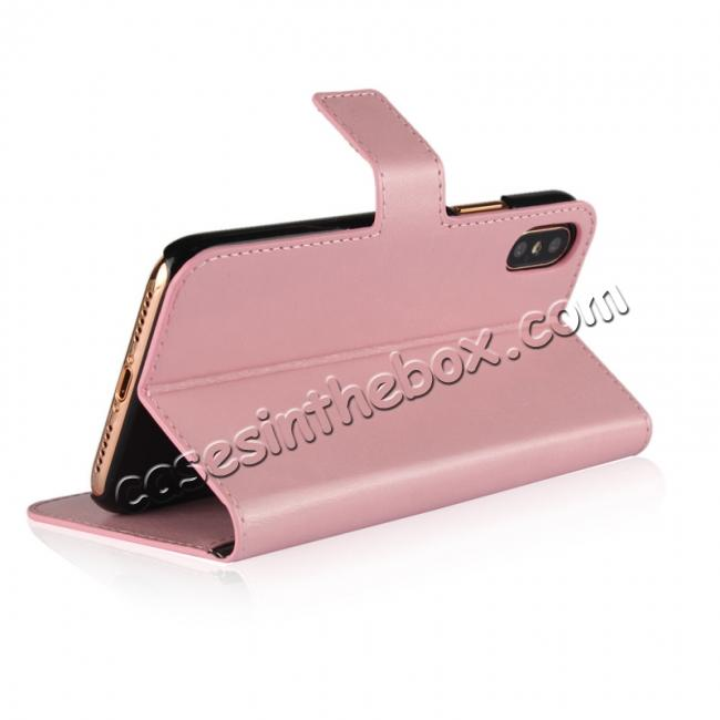 top quality Crazy Horse Pattern PU Leather Wallet Holster Flip Case Phone Cover For iPhone X - Pink