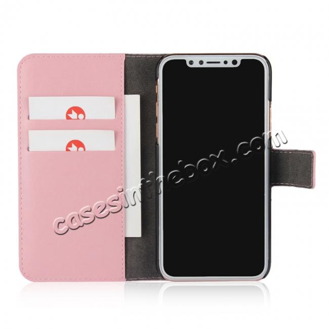 best price Crazy Horse Pattern PU Leather Wallet Holster Flip Case Phone Cover For iPhone X - Pink