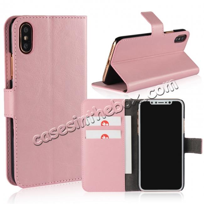 wholesale Crazy Horse Pattern PU Leather Wallet Holster Flip Case Phone Cover For iPhone X - Pink
