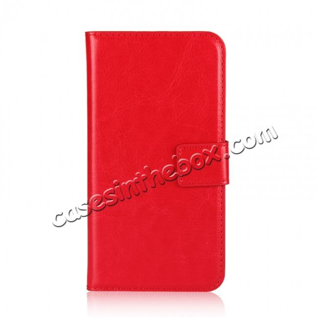 discount Crazy Horse Pattern PU Leather Wallet Holster Flip Case Phone Cover For iPhone X - Red