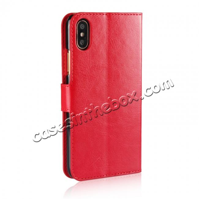 cheap Crazy Horse Pattern PU Leather Wallet Holster Flip Case Phone Cover For iPhone X - Red