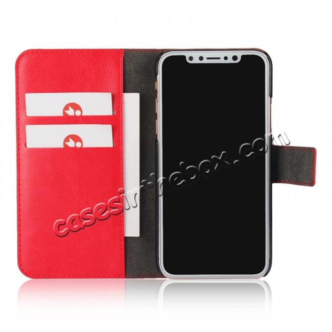 best price Crazy Horse Pattern PU Leather Wallet Holster Flip Case Phone Cover For iPhone X - Red