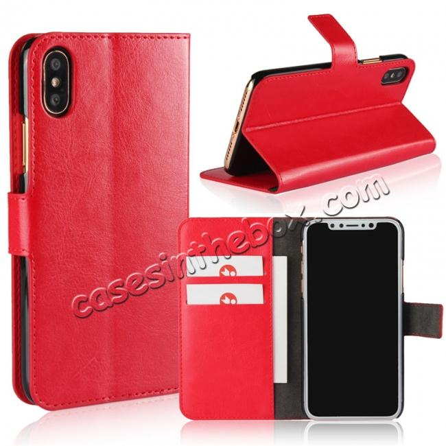 wholesale Crazy Horse Pattern PU Leather Wallet Holster Flip Case Phone Cover For iPhone X - Red