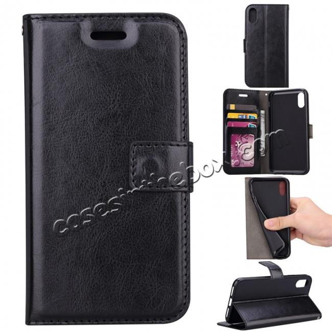 wholesale Crazy Horse PU Leather Case Flip Card Slot Wallet For iPhone X - Black