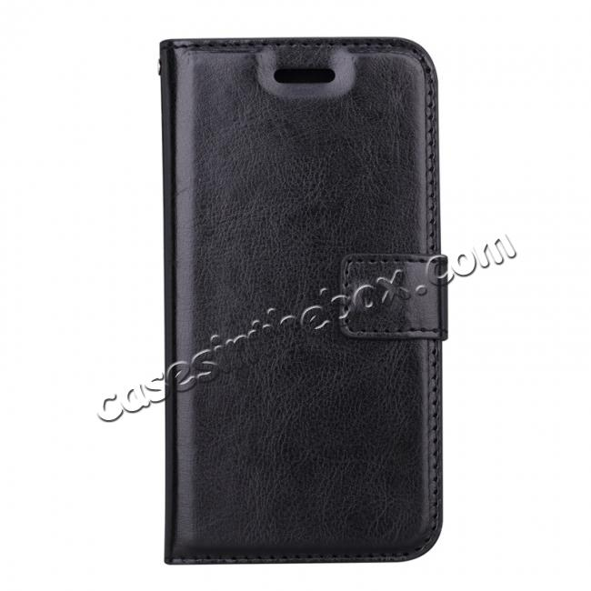 discount Crazy Horse PU Leather Case Flip Card Slot Wallet For iPhone X - Black