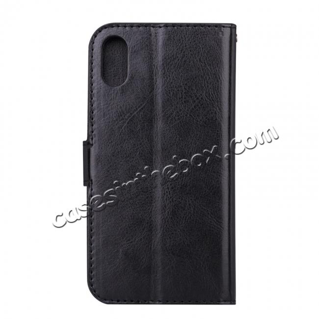 cheap Crazy Horse PU Leather Case Flip Card Slot Wallet For iPhone X - Black