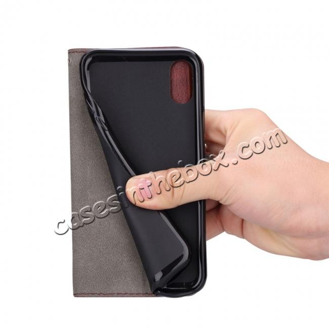 on sale Crazy Horse PU Leather Case Flip Card Slot Wallet For iPhone X - Black