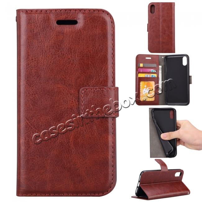 wholesale Crazy Horse PU Leather Case Flip Card Slot Wallet For iPhone X - Brown