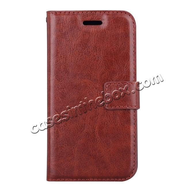 discount Crazy Horse PU Leather Case Flip Card Slot Wallet For iPhone X - Brown