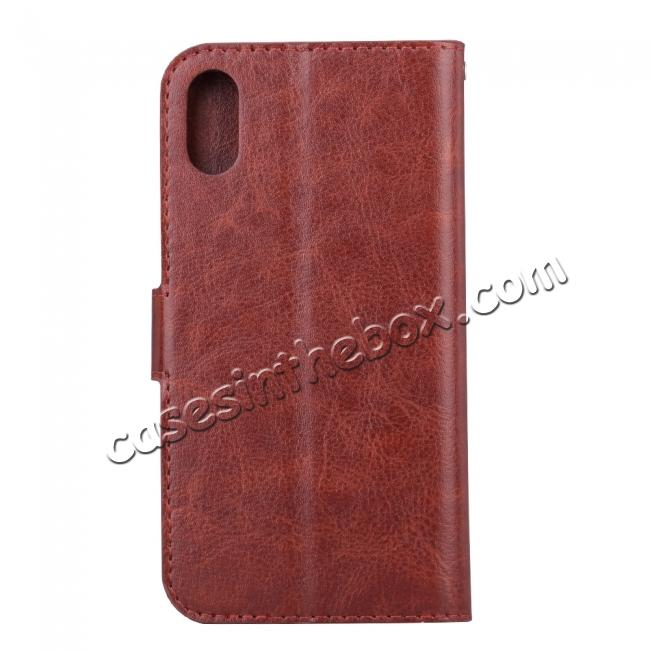cheap Crazy Horse PU Leather Case Flip Card Slot Wallet For iPhone X - Brown