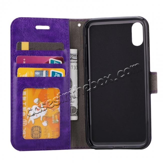top quality Crazy Horse PU Leather Case Flip Card Slot Wallet For iPhone X - Brown