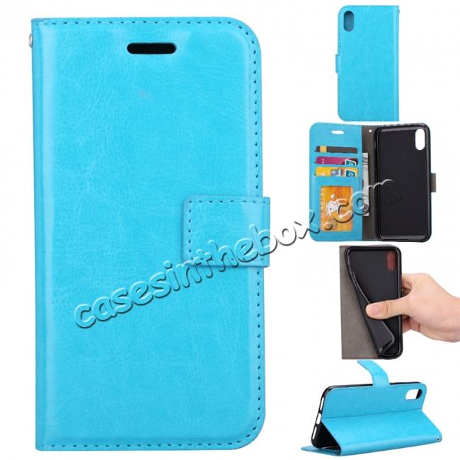 wholesale Crazy Horse PU Leather Case Flip Card Slot Wallet For iPhone X - Light Blue