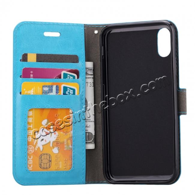 discount Crazy Horse PU Leather Case Flip Card Slot Wallet For iPhone X - Light Blue