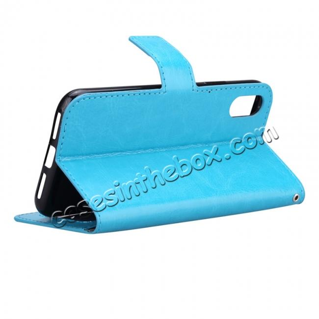 cheap Crazy Horse PU Leather Case Flip Card Slot Wallet For iPhone X - Light Blue