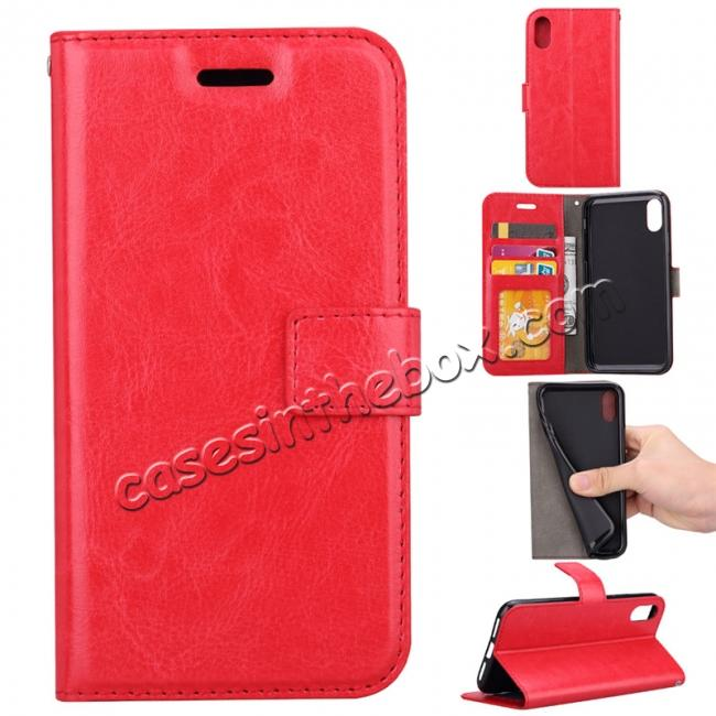 wholesale Crazy Horse PU Leather Case Flip Card Slot Wallet For iPhone X - Red