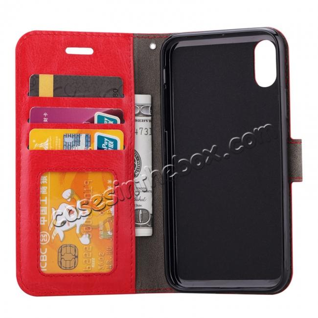 discount Crazy Horse PU Leather Case Flip Card Slot Wallet For iPhone X - Red