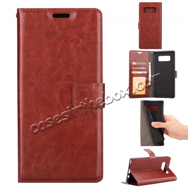 wholesale Crazy Horse PU Leather Case Flip Card Slot Wallet For Samsung Galaxy Note 8 - Brown