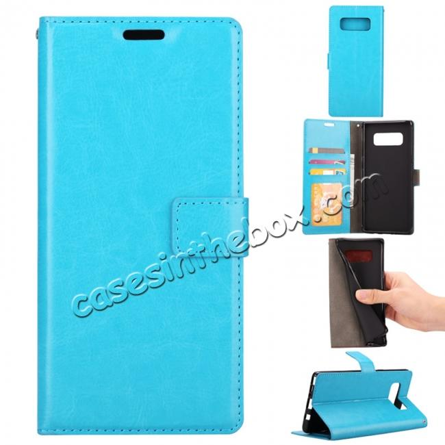wholesale Crazy Horse PU Leather Case Flip Card Slot Wallet For Samsung Galaxy Note 8 - Light Blue